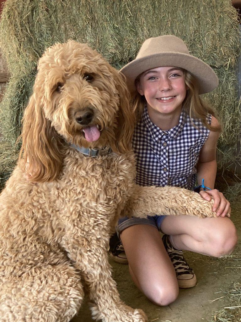 Sandy the dog with Lydia Ricks (Annie)