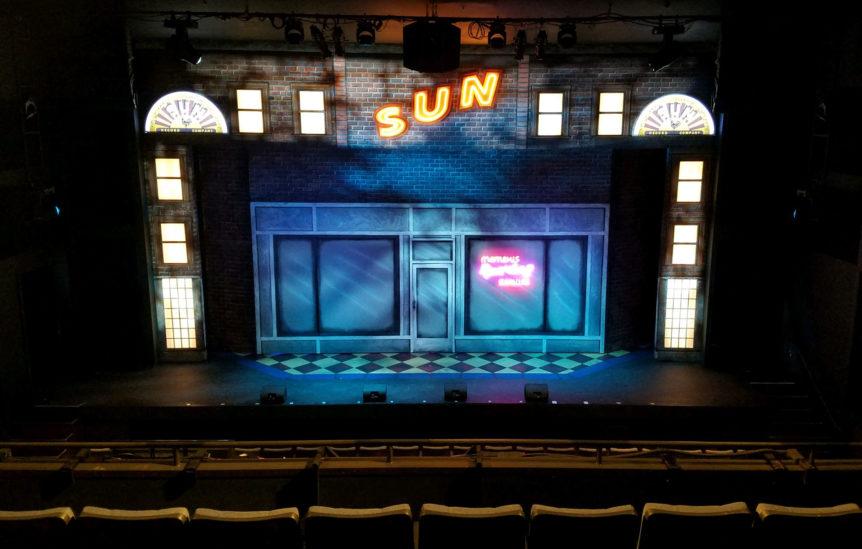 Hafen Theatre stage with MDQ set
