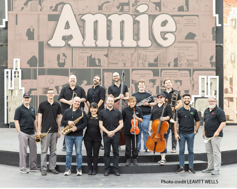 The orchestra stand on the set of Annie.