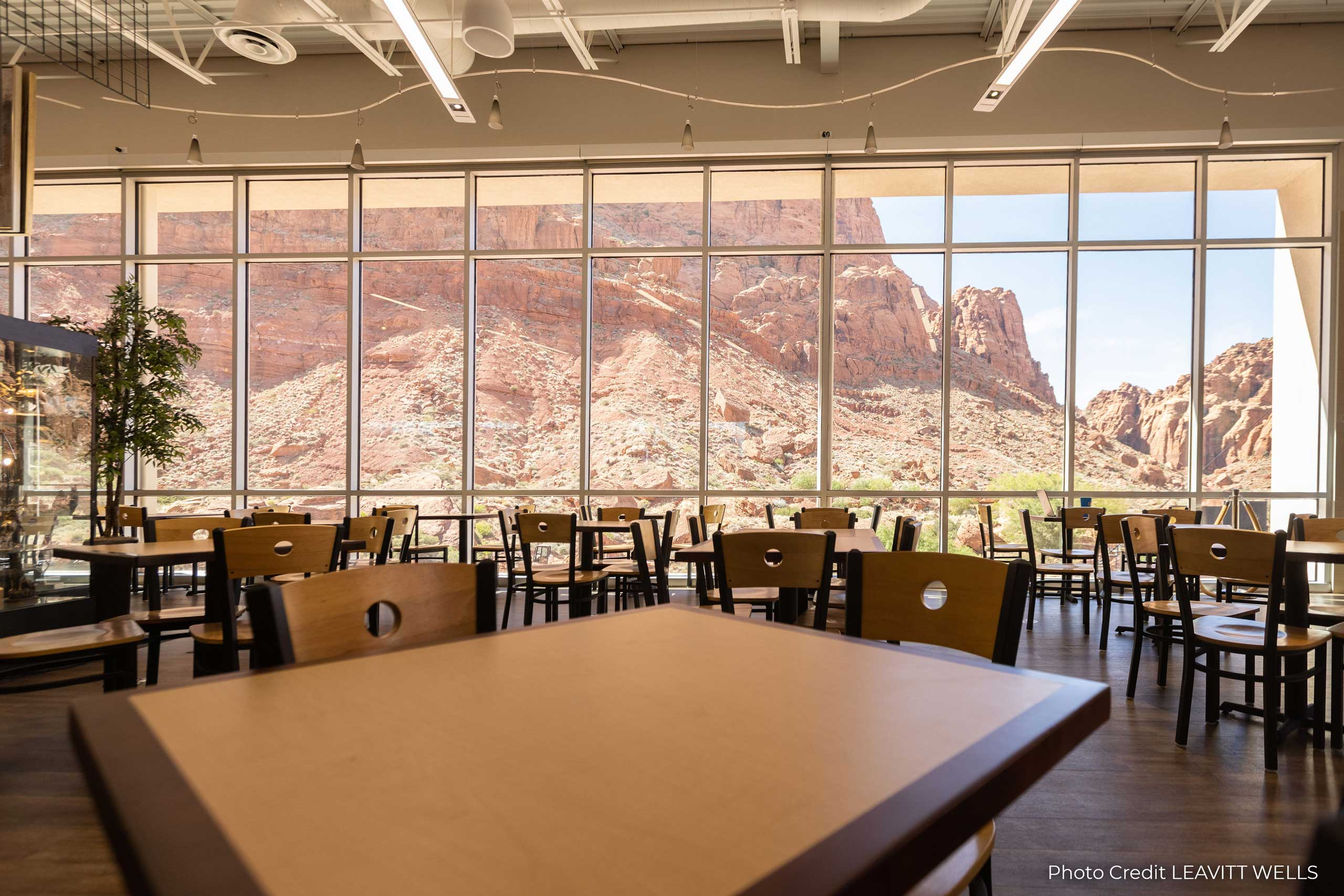 Tuacahn Cafe dining room with view of the canyon.