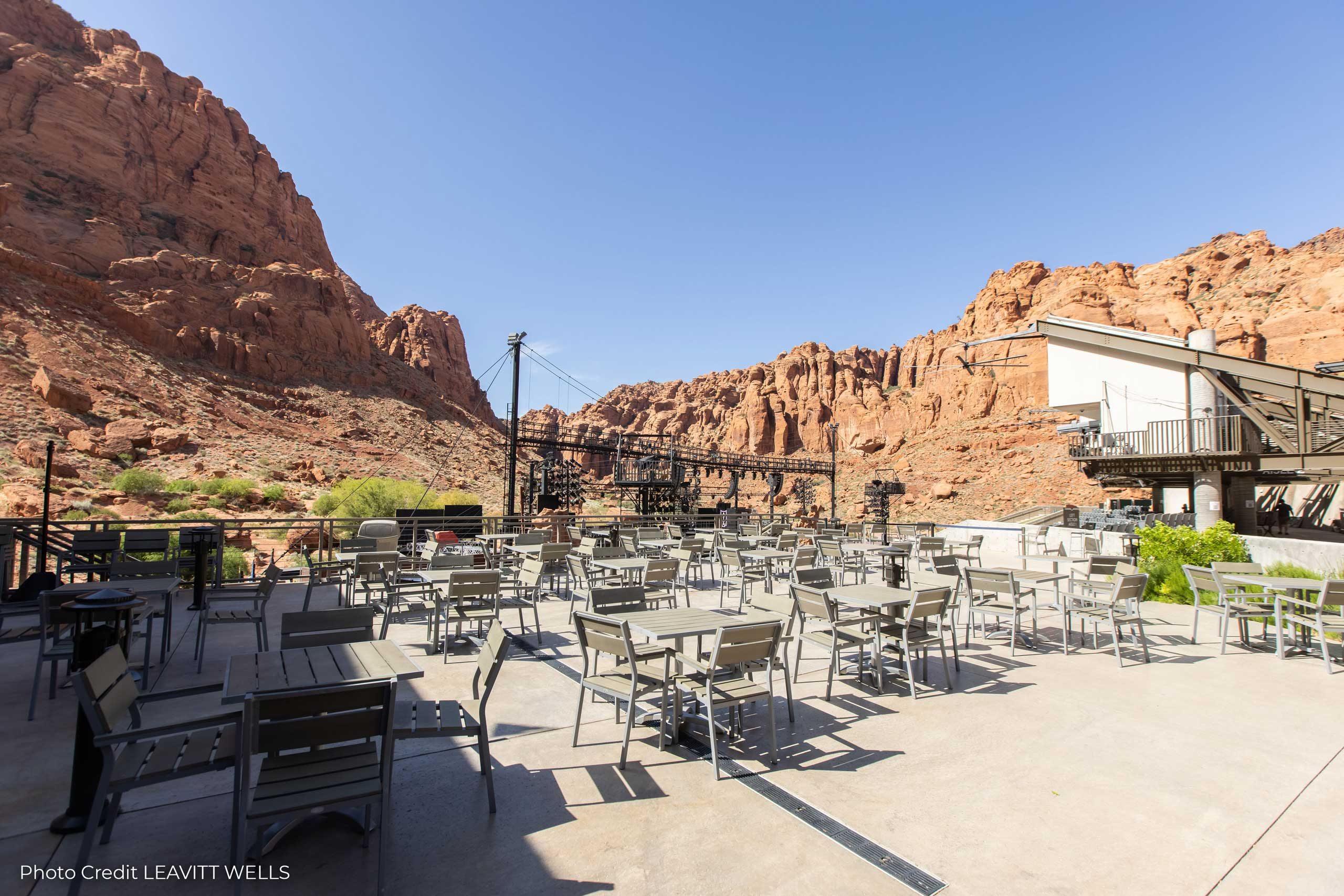 Tuacahn Cafe patio looks out over the canyon and amphitheatre.