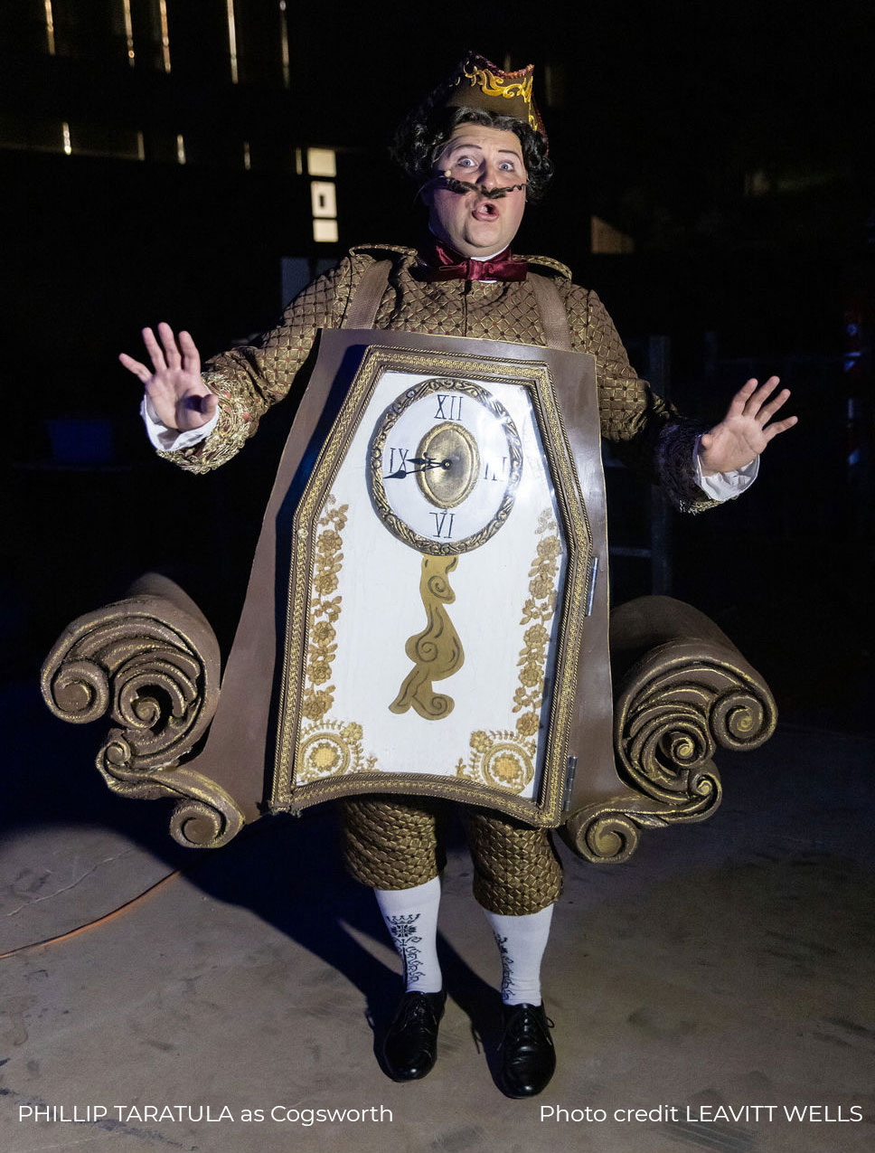 Cogsworth backstage waiting for cue