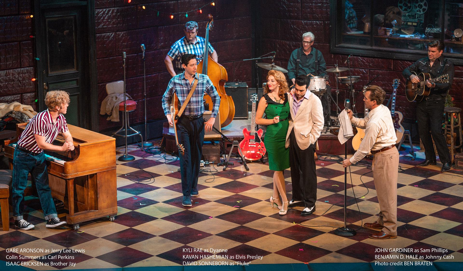The cast of Million Dollar Quartet on stage