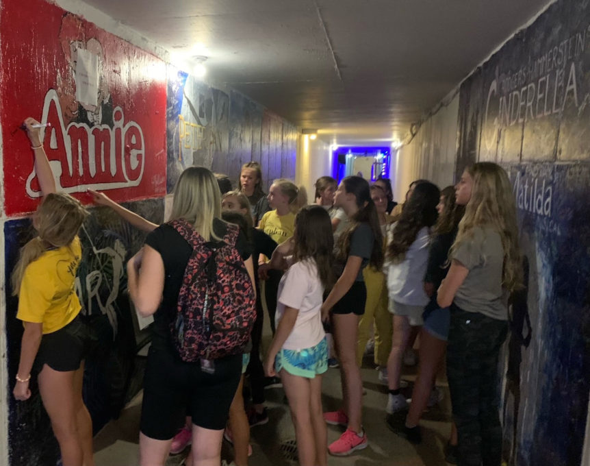 Cast of Annie in tunnel.