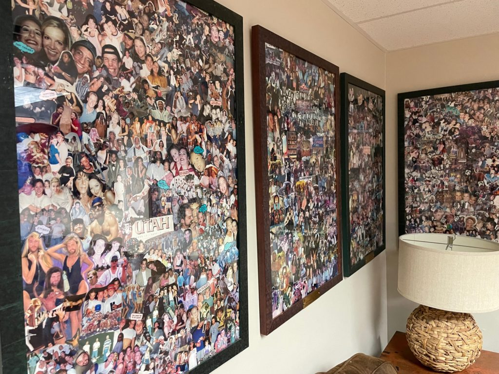 Photo collage of cast and crew hanging in greenroom